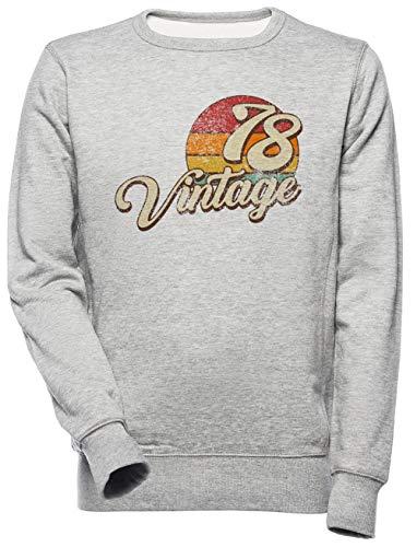 Vintage 1978-1978 Birthday Unisex Herren Damen Sweatshirt Grau Unisex Men\'s Women\'s Jumper