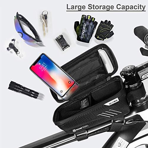 BAONUOR Fahrrad Rahmentasche Fahrrad Handytasche Lenkertasche Wasserdicht mit TPU Touchscreen Fahrradtasche Fahrrad Oberrohrtasche für iPhone 8 Plus/X/XS Max/XR/Samsung S8 Plus/S9 Handy - 5