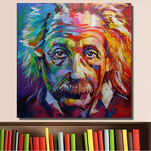 TBWPTS Wandmalerei Leinwand Gemälde Albert Einstein Portrait Poster Malerei Auf Leinwand Wand Kunst Bilder Für Wohnzimmer Schlafzimmer Studie Moderne Dekoration Rahmenlose