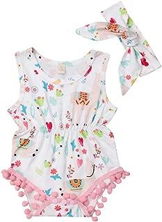 Specialcal Newborn Baby Boys Girls Little Llama Print Short Sleeve Bodysuit Romper