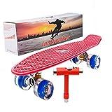 Landwalker 22' Complete Skateboard Banana Cruiser Galaxy Skateboards Boys Girls Kids Board (Red Deck)