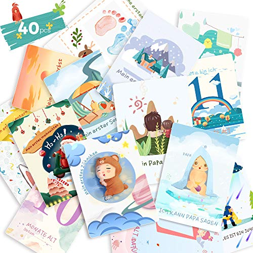 40 Baby Meilenstein-Karten für Jungen und Mädchen mit hochwertiges Papier (Sprache Deutsch), Schön Meilensteinkarten Milestone Cards perfektes Geschenk für Geburt, Taufe, Babyparty, Schwangerschaft