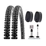 P4B | Komplettes 26 Zoll Reifen - Set für Ihr Fahrrad = 2X 54-559 Reifen (26 x 2.00) | 2X Schläuche 26 Zoll | AV 40 mm | FORMGEHEIZT