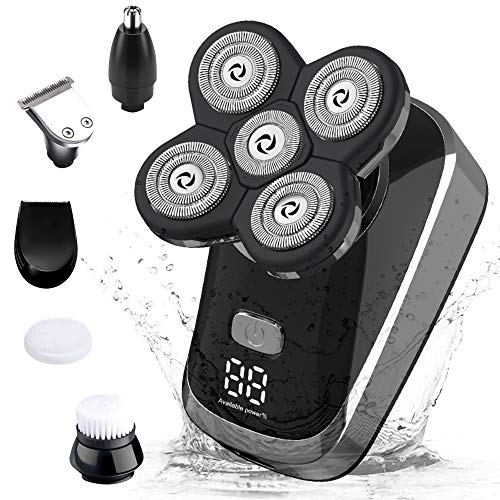 SURKER Mens Electric Shaver Razor 6 in 1 Cordless Bald Head Shaver Rotary Shaver Grooming Kit with Beard Trimmer Clippers Nose Trimmer Facial Brush Wet Dry USB Rechargeable