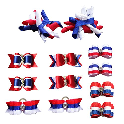 PET SHOW Patriotic Small Dogs Hair Bows with Rubber Bands Puppies Cats Topknot Headdress Grooming Hair Accessories for US Independence Day Party Costumes Pack of 12pairs /24pcs