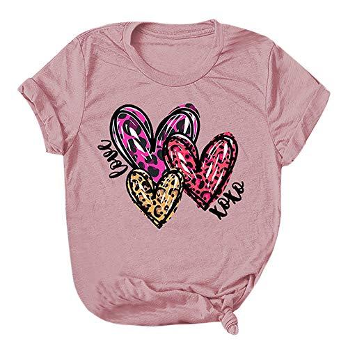 YANFANG Camiseta Mujer Manga Corta Barata,Camiseta con Estampado de Amor para el día de San Valentín para Mujer, Camisetas Casuales de Manga Corta, Camisetas Deportivo,Fitness,devertidas