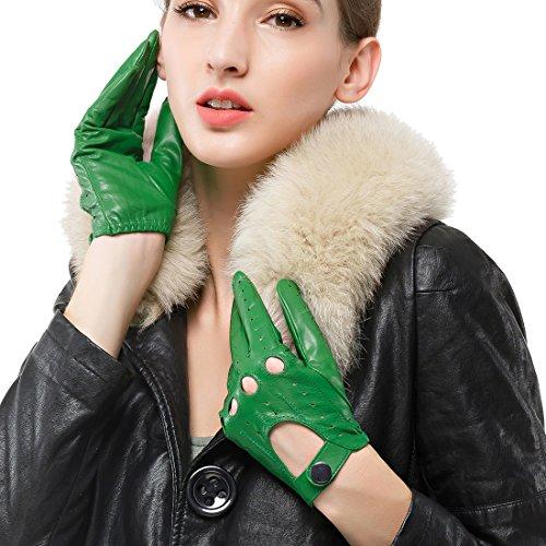 Nappaglo Damen Lederhandschuhe für fahren Touchscreen klassische Lammfell Vollfinger Motorrad Ungefüttert Handschuhe (L (Umfang der Handfläche:19.0-20.3cm), Grün(Non-Touchscreen))