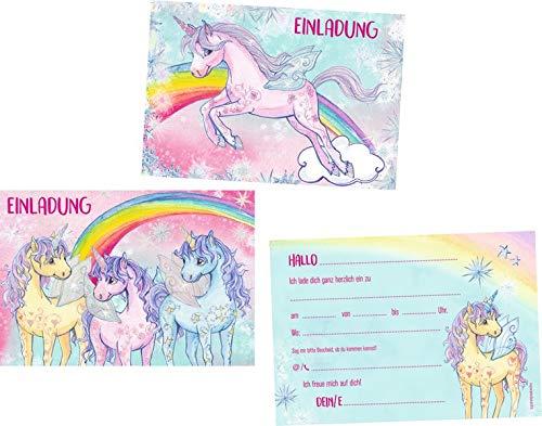Einladungskarten - Einhorn-Paradies: 10 Einladungskarten in 2 Designs mit Umschlägen