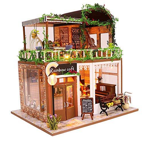 FEEE-ZC Mini casa de Madera Manualidades, Kits de Modelos de Bricolaje con Muebles y Accesorios, Juego de Madera, para casa de Juguete para Amigas