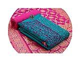 Prime Seller Women's Cotton Semi-Stitched Salwar Suit (Blue & Pink)