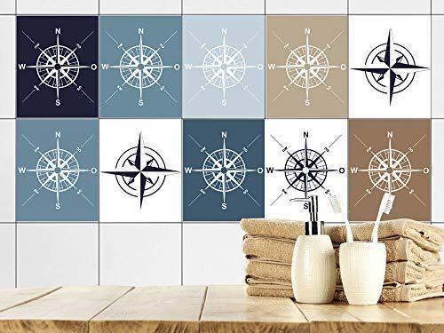 GRAZDesign AHOI tegelstickers badkamer kompas zeerose maritiem blauw bruin wit, tegelstickers tegels om op te plakken plakfolie voor badtegels 20x25cm Set van 40 stuks.