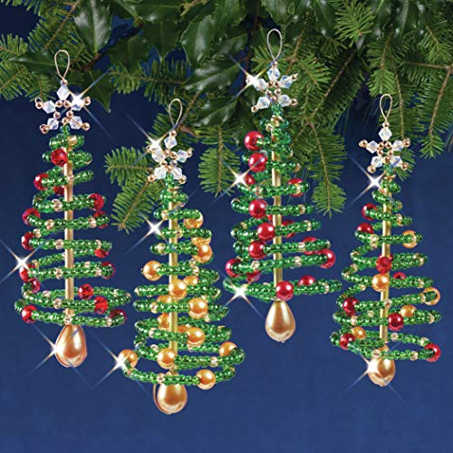SOLID OAK Beaded Ornament KIT, Christmas Tree Makes 4