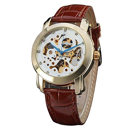 Winner - Reloj mecánico automático con esfera de 12 horas para hombre con correa de piel auténtica