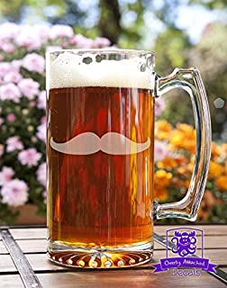 Mustache Etched Glass 16 Ounce Stein Mug Glassware Gift