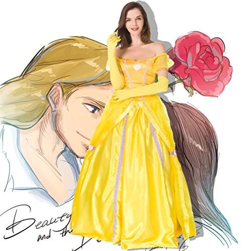 YRE Adulto Giallo Belle Princess Gonna, Bellezza e Bestia Principessa Bell Stage Party Costume, con Supporto Gonna, Costume di Halloween (S-XXL),S