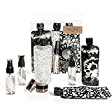 Kitsch Ultimate Travel Bottles Set, Travel Containers, Carry on, TSA approved - 11pcs (Black & Ivory)