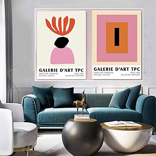 Astratto Opere d'arte Matisse Quadri Rosa Rosso Colore Blocco Poster Matisse Parete Arte Foto Camera da letto Tela Arte Stampe Matisse Poster Soggiorno Camera Decorazioni D24189