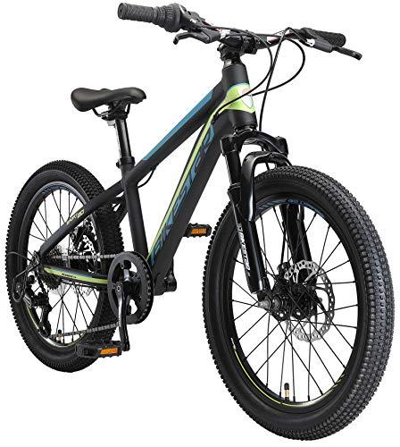 BIKESTAR Bicicleta de montaña Juvenil de Aluminio 20 Pulgadas de 6 a 9 años | Bici niños Cambio Shimano de 7 velocidades, Freno de Disco, Horquilla de suspensión | Negro