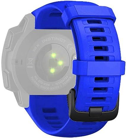 Für Garmin Instinct Sportuhr Armband Quick Fit Weiches Silikon Sportarmband Uhr Band Strap Ersatzarmband Uhrenarmband Für Garmin Instinct Replacement Strap Watch Band Blau Sport Freizeit