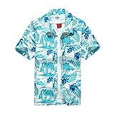 Verano para hombre camisas hawaianas botón estampado de árbol de coco Casual playa manga corta talla grande,# (Color : A79, Size : X-Large)