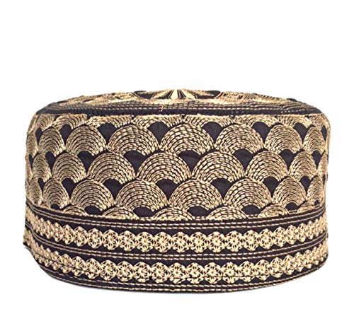 Eid Gift 手刺繍 クフィキャップ アラビック 部族 メンズ Koofi 祈り トピー US サイズ: 58 cm (22 Inch to 23 inch) カラー: ゴールド