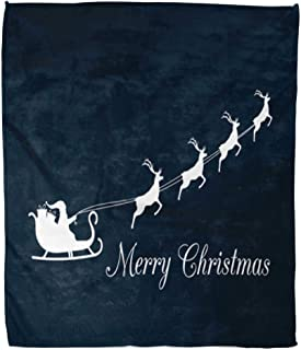 Emvency Decorative Throw Blanket 60 x 80 Inches Blue Sack Santa Claus is Flying in Sleigh Reindeer Merry Christmas Animal Warm Flannel Soft Blanket for Couch Sofa Bed