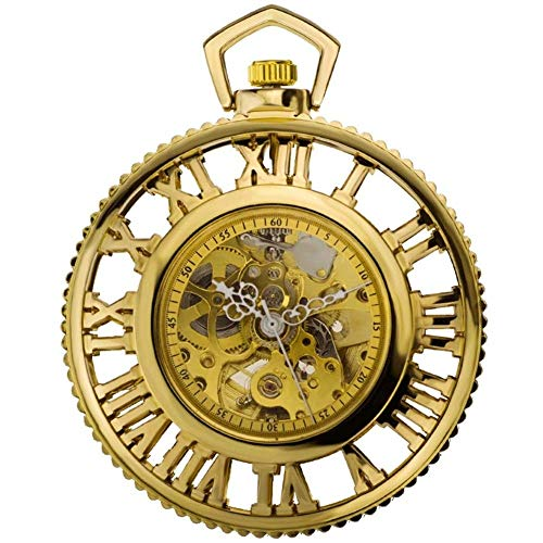 CDPC Reloj de Bolsillo, Reloj de Bolsillo Dorado, el Engranaje de maquinaria de Vapor Romano del Mundo Reloj mecánico automático Reloj de Bolsillo circundante de Anime Retro Nostalgia Segundo ele