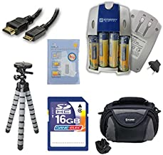 Samsung WB110 Digital Camera Accessory Kit includes: SB257 Charger, SD4/16GB Memory Card, HDMI6FM AV & HDMI Cable, ZELCKSG Care & Cleaning, GP-22 Tripod, SDC-26 Case