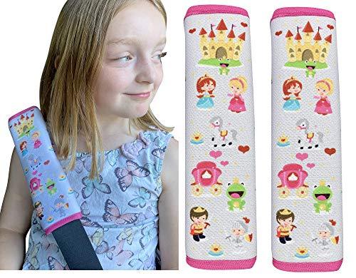 HECKBO 2x Prinzessin Kinder Auto Sicherheitsgurt - 21 x 6cm - Gurtschoner Kissen Autositz Gurt Fahrradsitz Gurt Gurtpolster für Sitzerhöhung Gurtschutz