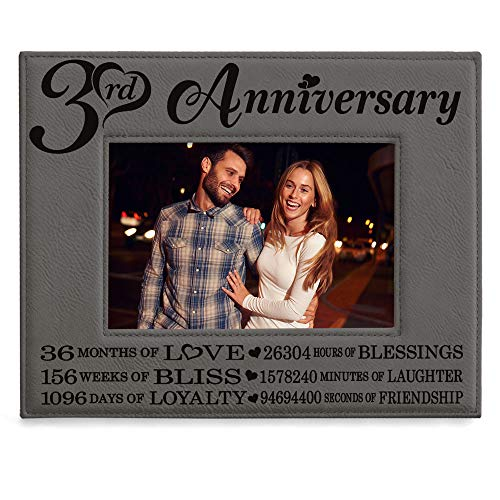 KATE POSH - 3rd Engraved Leather Picture Frame, 3 Years Together for Boyfriend, Girlfriend, 3 Years as Husband and Wife, 3 Years of Marriage, Gifts for Couple (5x7-Horizontal)