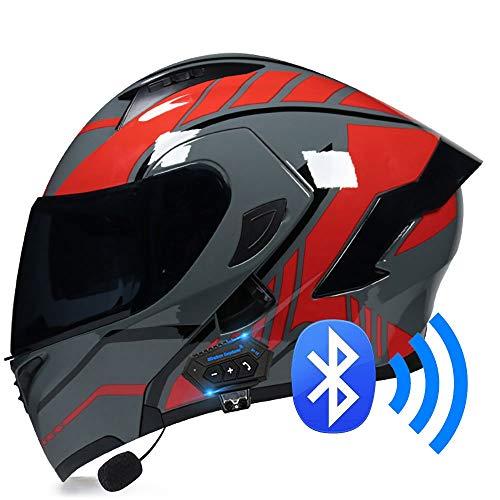 BDTOT Bluetooth Casco Moto Modular Doble con Doble Visera en Integrado de Intercomunicación Sistema de Comuni Adultos Unisex para Respuesta Automática ECE Homologado 57~62cm