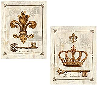 wallsthatspeak 2 King Queen Royal Jeweled Crowns Art Prints Key Antique Vintage 8x10
