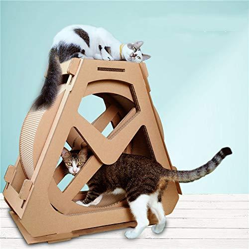CLX Gegolfde loopband Ferris huisdier meubels kat krabplank grijpen kruipen plank wiel rotatie katten loopband, oefening rol, golfkarton nest, kat klauw