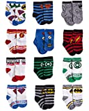 DC Comics Baby Boys Superhero Character Socks: Batman and Justice League 12 Pack (Newborn and Infants), Green/Blue/Red Justice League, Size Age 0-6M