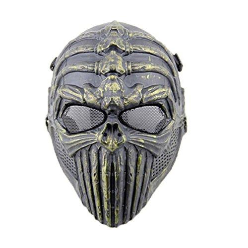 haoYK Mscara tctica para airsoft, paintball, malla de alambre, espina dorsal, calavera, proteccin completa, disfraz de Halloween