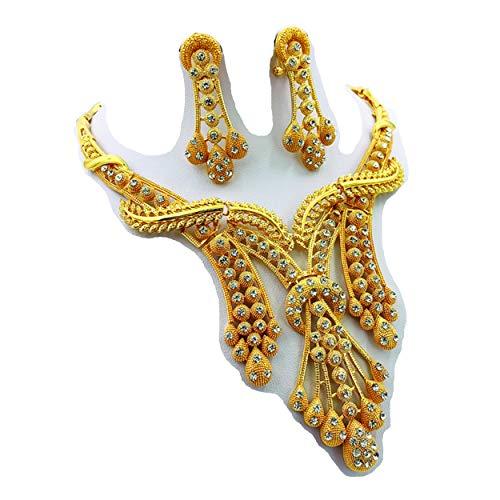 Montip Lynn 18K oro rosa plateado mujeres pulsera collar anillo pendientes vintage Dubai India africana asiática joyería nupcial conjunto