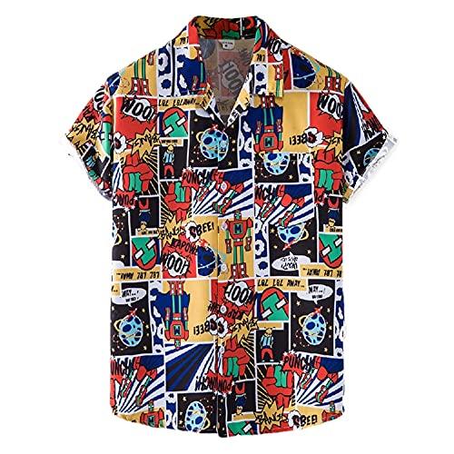 Camisa Elegante Camisa Casual Hombre Camisa Playa Verano Camisa Manga Corta Hawaii Camisa Fiesta Todo Fósforo con Estampado Tendencia Camisa Caballero con Patrón Único Hombre XH76 XL