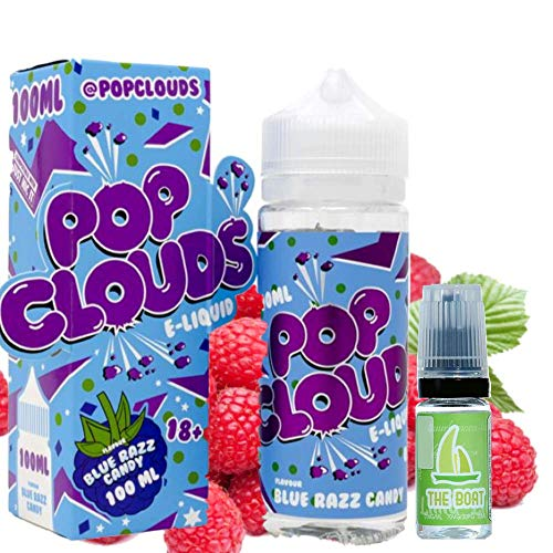 E Liquid POP Clouds Blue Razz 100ml - 70vg 30pg - booster shortfill + ELiquid The Boat 10 ml lima limón - Pack de 2 líquidos para cigarrillo electrónico.