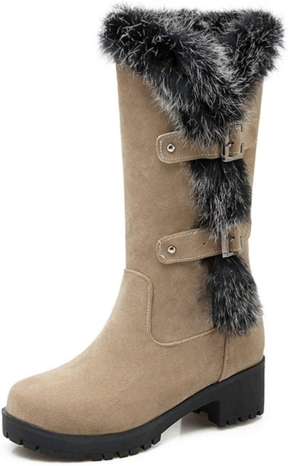 T-JULY Women Autumn Thermal Knee-high Slip-Resistant Waterproof Snow Faux Suede Leather Rabbit Fur Winter Boots