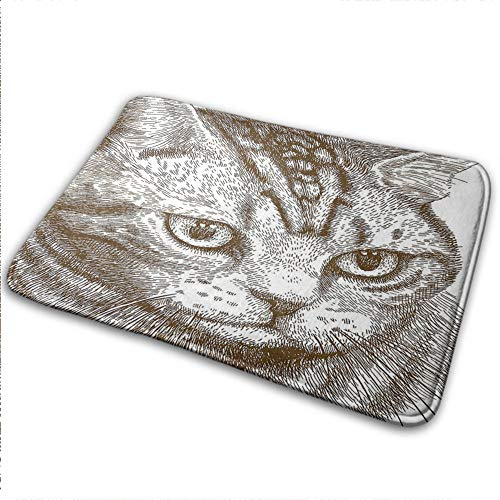 Cat Entrance Mat, Fiber Non-Slip Portrait of a Kitty Domestic Animal Hipster Best Company Fluffy Pet Graphic Art for Indoor Outdoor Front Door, W31 x L47 Chocolate White