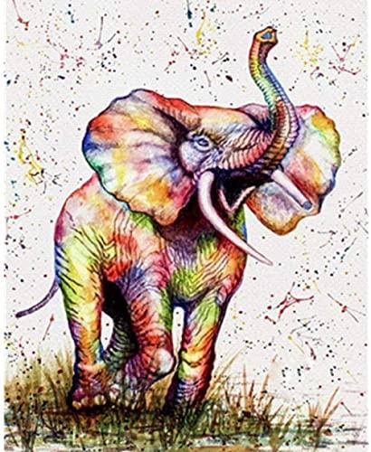 Xykhlj Elefante de Dibujos Animados_DIY Pintura de por números-Lienzo preimpreso-Valentín Decoración Pintura de DIY por Números Bricolaje Kit de Lona para Adultos_40x50cm Sin Marco