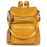 Backpack Purse for Women Fashion Two Toned Leather Designer Travel Large Ladies Shoulder Bags with Tassel yellow
