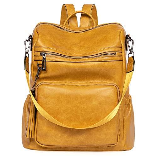 CLUCI Damen Rucksack Weiches Leder Groß Stylisch Frauen Designer Schultertasche Reiserucksack 2 in 1 Gelb