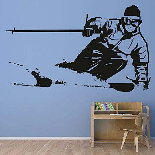 WSYYW Skiing Extreme Sports Wall Sticker Skiing Athletes Bedroom Decor Vinyl Wall Decals Boys Room Decoration Wallpaper A2 96X57cm