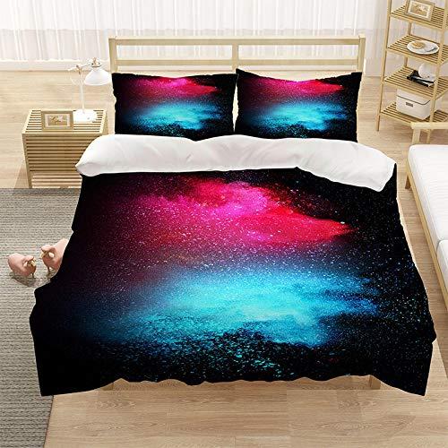Bedclothes-Blanket Cubierta de la Cubierta de la Microfibra de Color 3D con la Cubierta de la Cremallera y el Cierre de la Cremallera (1 Cubierta del edredón + 2 Casas de Almohadas)-11_210 * 210cm
