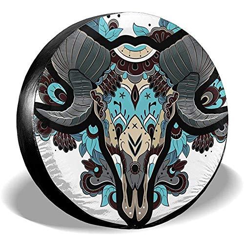 Tridge Cubierta de llanta de Repuesto Cool Ram Head Skull Cubierta de Rueda Impermeable Protector de llanta Duradero 17 Pulgadas
