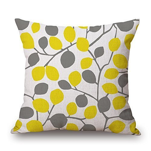 iksrgfvb C4536F Cotton Decorative Throw Pillow Case Cushion Cover Leaves Yellow and Grey 45X45 CM