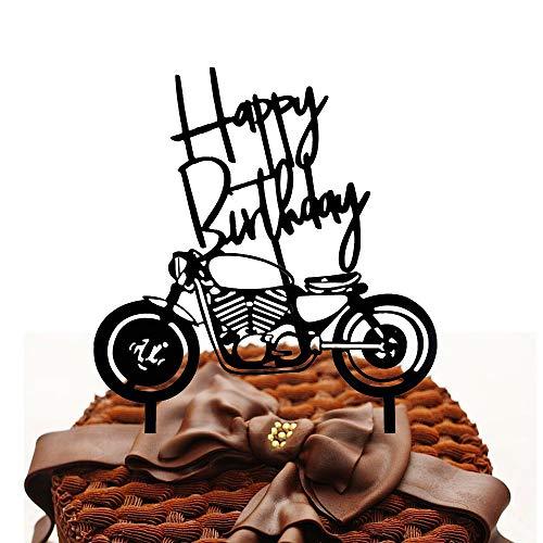 A Happy Birthday Cake Topper mit Motorrad, Motorrad Tortenaufsatz, Geburtstagsfeier Motorradform Dekorationszubehör für die Geburtstagsfeier des Mannes oder den Geburtstag eines Jungen