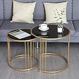 Home D eacute; cor Furniture Mesa de centro de té de 2 piezas para sala de estar, mesa de sofá redonda con superficie de vidrio, mesas nido de arte de hierro para el hogar, sala de estar o salón de 55