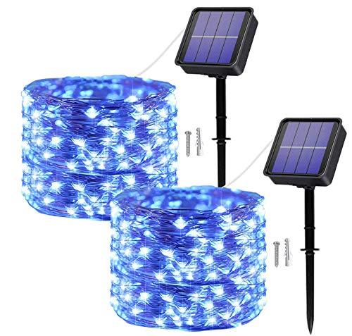[2 Pack]Guirnaldas Luces Solares para Exterior, 120 LED 12M Impermeables Cadena de Luces Decoracion para Exteriores/Interiores,Jardín, Patio, Terraza, Navidad,Fiestas, Bodas (Azul)